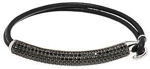 QVC As Is 4.50 ct tw Black Spinel Pave' Sterling Bar & Leather Bracelet