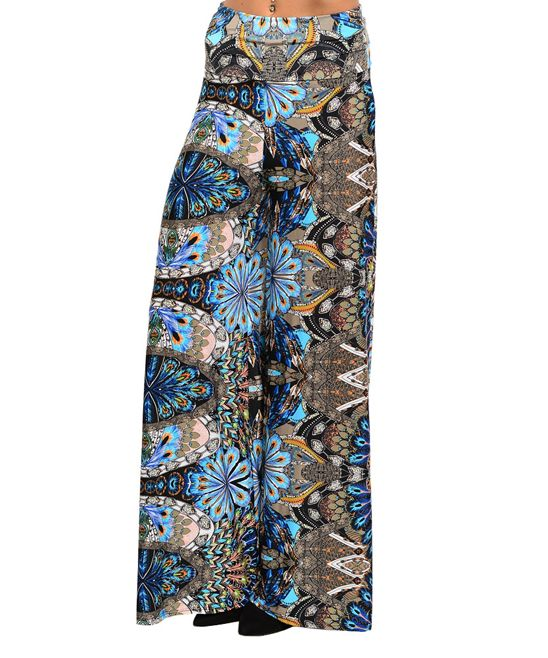 Gorgeous Black & Blue Butterfly Wing Palazzo Pants on Zulily