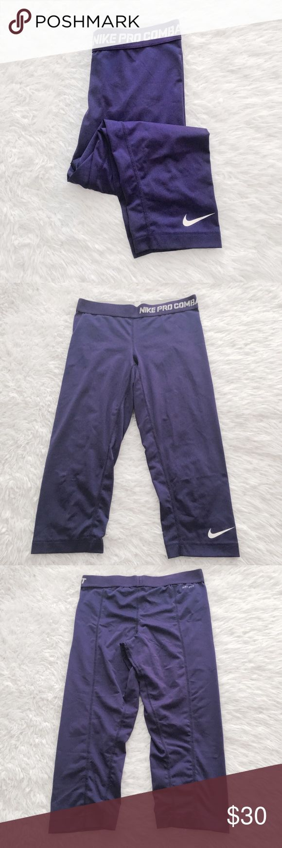 Nike Pro Crop Athletic Leggings Capri crop dri fit training pants. Small mark near the front waist.   •USE OFFER FEATURE TO NEGOTIATE  •BUNDLE TO SAVE  •NO OUTSIDE TRANSACTIONS •NO TRADES Nike Pants Capris