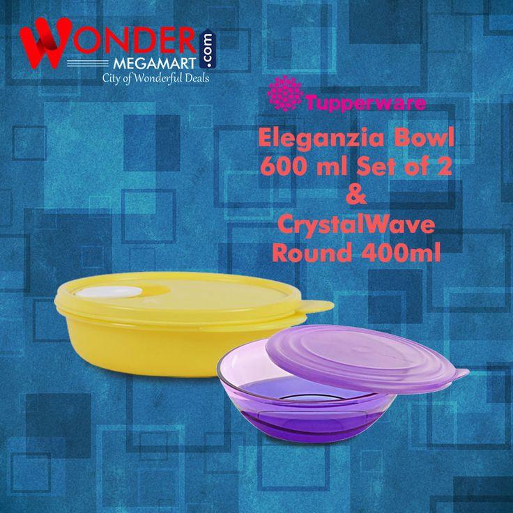 Tupperware Eleganzia Blow 600 ml Set of 2 & Crystal Wave Round 400ml #wondermegamart.com