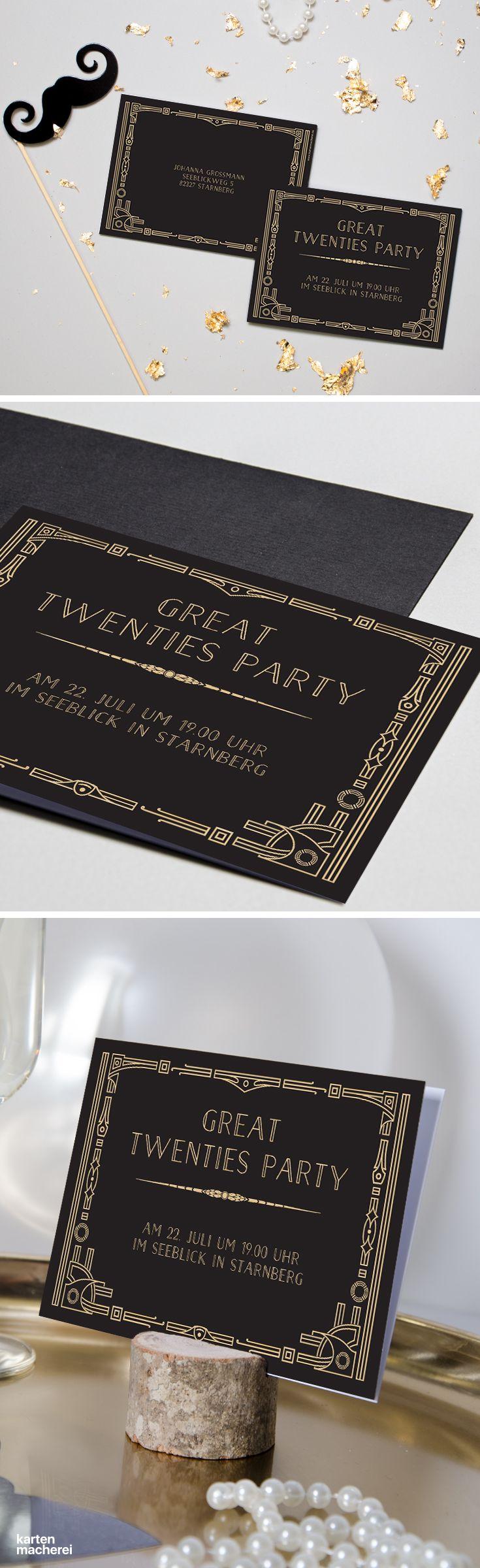 "Partyeinladung ""Golden Twenties"" #Silvesterparty #Papeterie #Silvester #Einladungskarten #kartenmacherei"