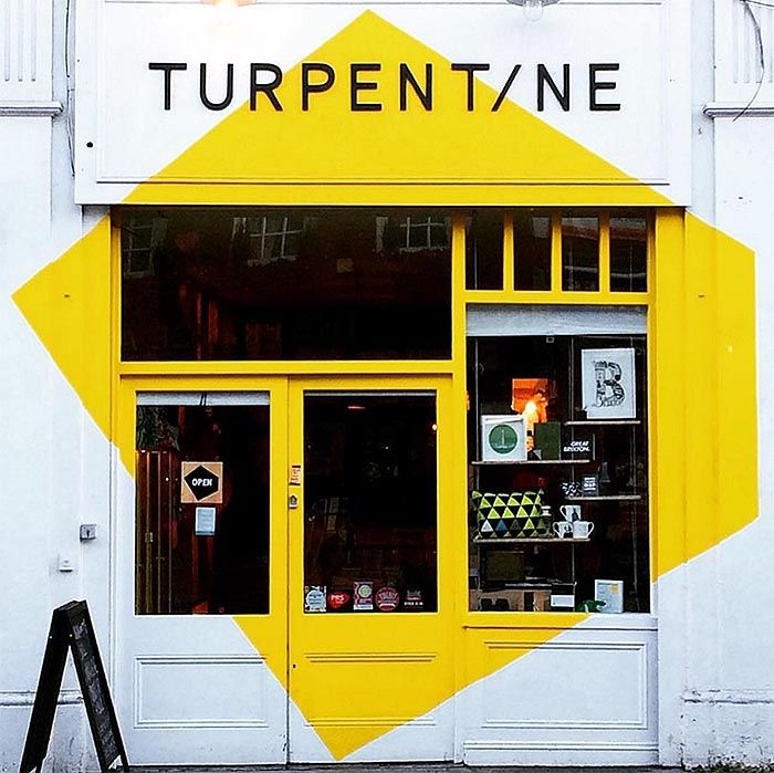 One of the best uses of yellow and great geometrics at Turpentine in the UK. Photo by @lucyfives