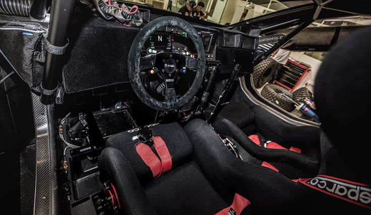 The interior of the Peugeot 2008 DKR while in the #Peugeot Sport Workshop.