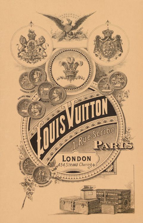 Gorgeous poster.  A 19th-century poster advertising Louis Vuitton's Paris flagship at 1 Rue Scribe and its London location on Charing Cross Road.: