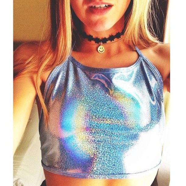 top holographic halter trippy choker necklace rave burning man colorful rainbow festival season