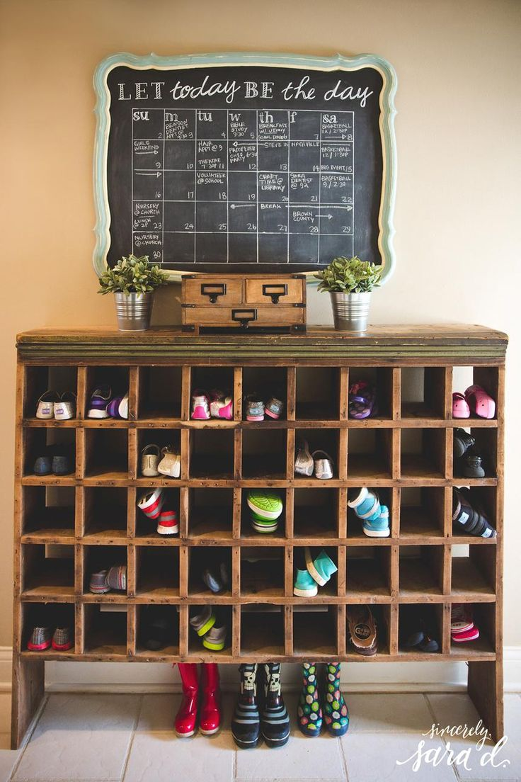 DIY Storage Idea: Convert a bookshelf or cabinet into a shoe organizer by lining shelves with cubbies.