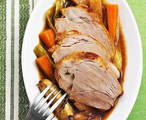 Arrosto di maiale con salsa alla senape e al vino bianco