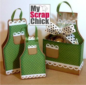 My Scrap Chic -  Apron treat box, card and tag svg cut file