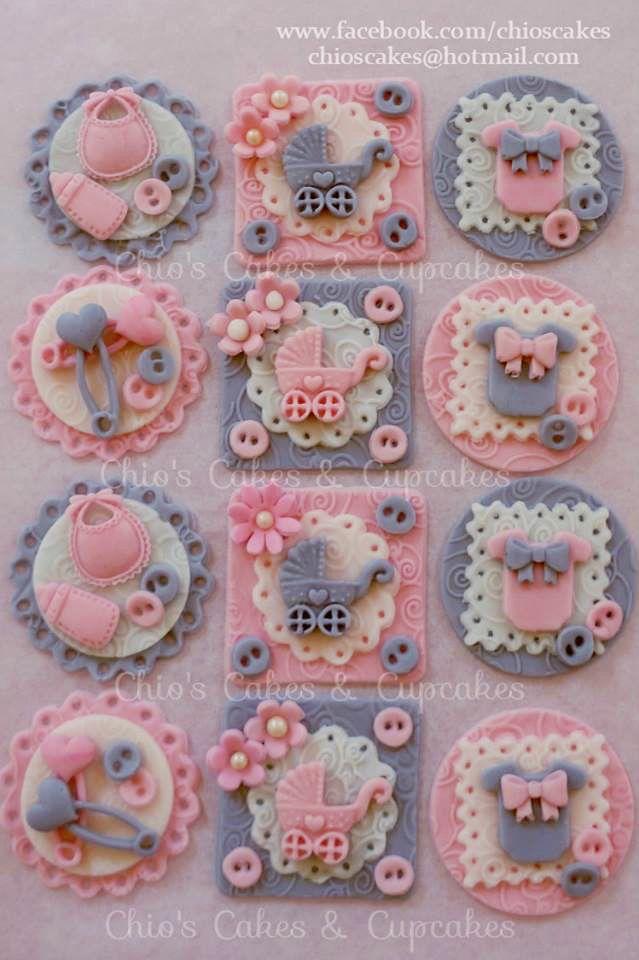 #CuteAsaButton Fondant Cupcake/Cookie Toppers. Follow me: www.facebook.com/chioscakes #CuteAsAButtonCupcakes #BabyShower #PinkAndGray #Cupcakes #BabyShowerCupcakes #PinkAndGrayBabyShower