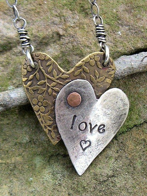 Custom Made Drawn To Art™ Heart Necklace - sterling silver, brass & copper