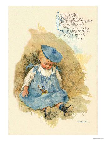 Little Boy BluePicture-Black Posters, Blue Wall, Blue Illustration, Maud Humphreybogart, Humphrey Bogart, Little Boys Blue, Blue Premium, Nurseries Rhymes, Fairies Tales