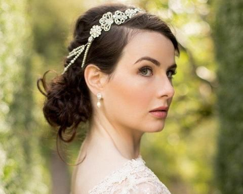 Vintage Side Headpieces - Grecian Style Draping Pearls On Vintage Style Headband, Charlotte