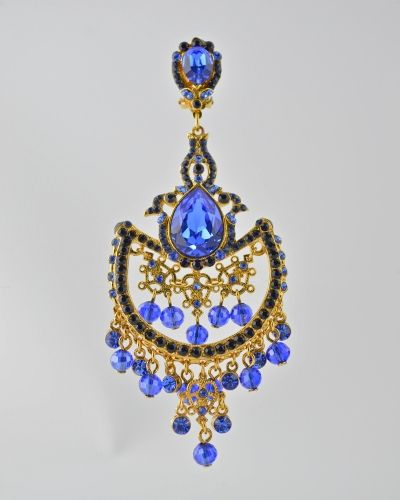 SAPPHIRE ON GOLD CHANDELIER: 24 Karat gold plated chandelier earring with Austrian crystals in Sappire color and faceted glass beads. Earring is clip on. Earring is 4.25 inches long and 2 inches at widest point. Get a 20% discount on this item with promo code: Olusegun683. $490
