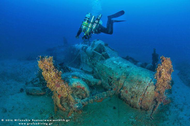 The Italian Savoia-Marchetti SM aircraft 79 «Sparviero» at the bottom of Poros Island, Greece