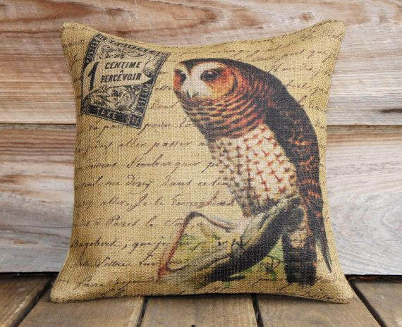 French Owl Pillow Cover, Burlap Throw Pillow, Shabby Chic, 16x16. $38.00, via Etsy.