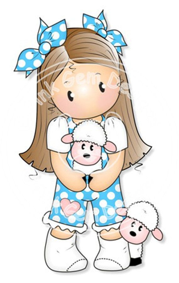 Digital Digi Stamp Chloe with Lambs - Girls Birthday Card, Party Invitatations, Easter etc