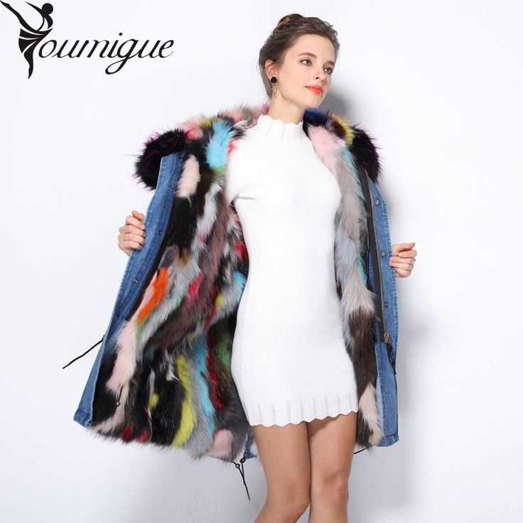 YOUMIGUE Women Fur Hooded Parka Padded Raccoon Fur Parka Black Army Green Raccoon Fur Lined Coat Parka 2016