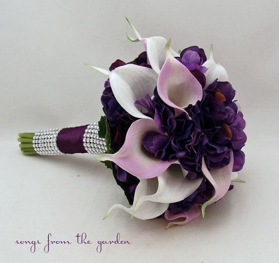 Calla Lily Hydrangea Bridesmaid Bouquet by SongsFromTheGarden, $95.00