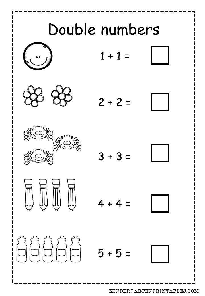 Free Kindergarten Worksheet Math Double Numbers Worksheet Free Printable Adding Double Math Fact Worksheets Doubles Worksheet Math Worksheet