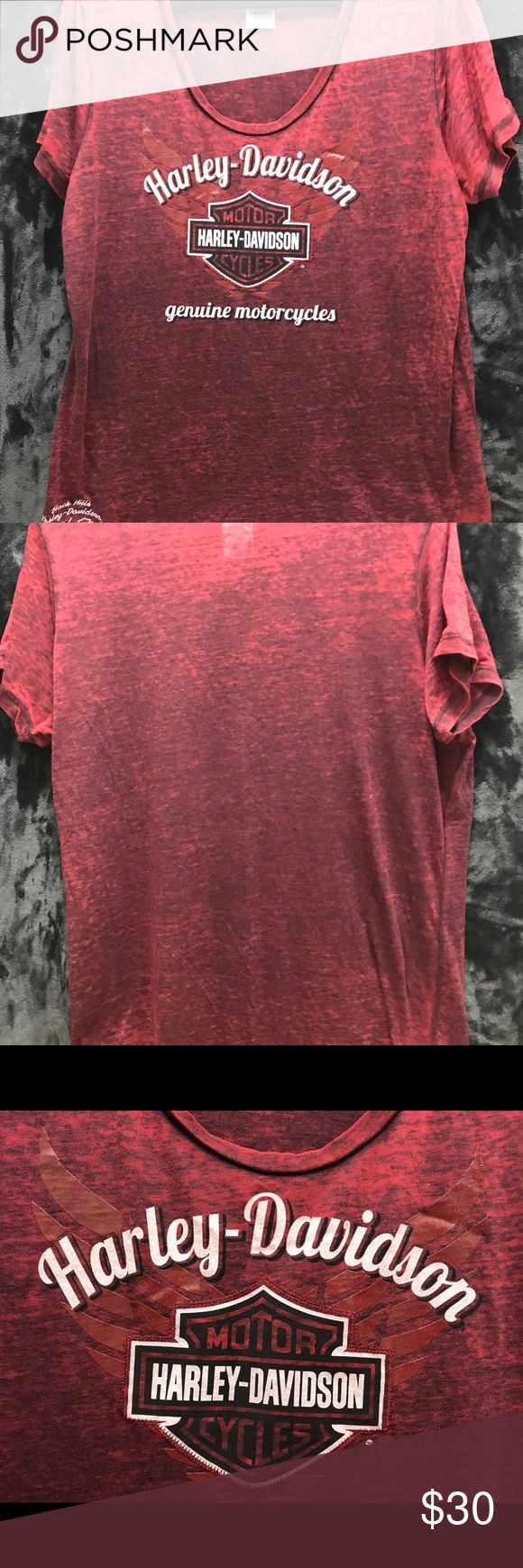 """Harley Davidson Women's burnout scoop neck top Official Harley Davidson apparel. Never worn!Women's scoop neck top with all-over burnout pattern. Gorgeous red color. Super soft with front graphic and side stitching to show location (Black Hills,SD) - yes, I bought it when I went to Sturgis but I've never worn it! I'm no longer a """"biker's chick"""", so I'm selling off my HD wardrobe! Harley-Davidson Tops Tees - Short Sleeve"""