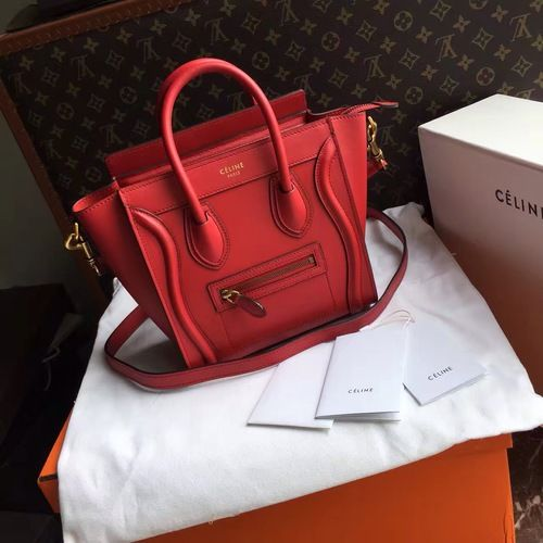 Celine NANO LUGGAGE SHOULDER BAG IN RED SMOOTH CALFSKIN