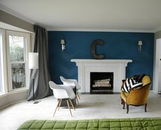 Teal Accent Wall W/chevrons, Grey Walls Otherwise.