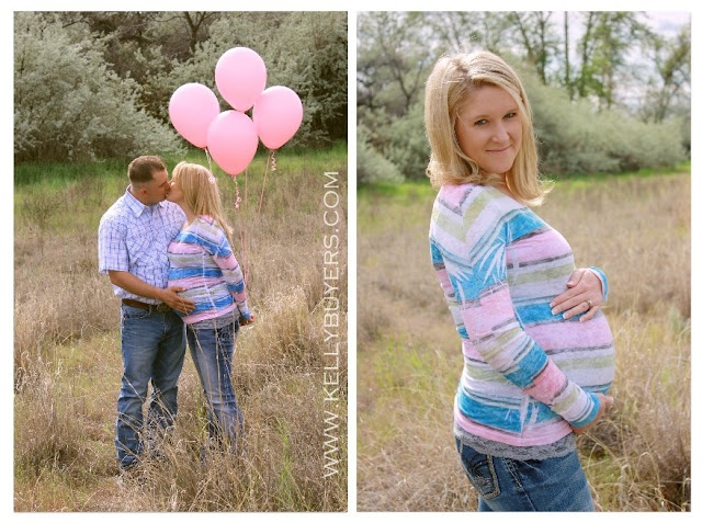 Maternity Pictures (balloons for the gender) such a cute idea!