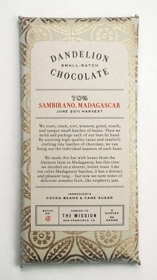 San Francisco based chocolatiers Dandelion Chocolate. My favorite of the high end makers. Their best bar.