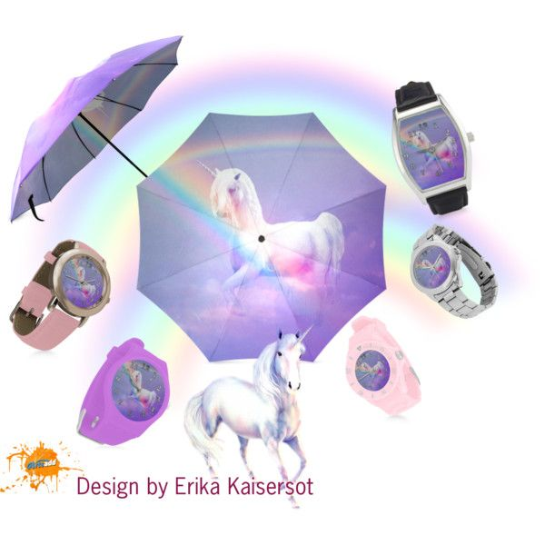Unicorn and Rainbow women watches, umbrella by #erikakaisersot. Buy on http://www.artsadd.com/store/erikakaisersot?category=fantasy_unicorn-1125 #freeshipping and 20% OFF