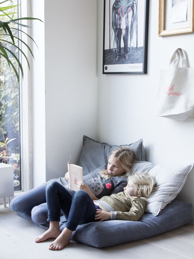 A nook in my home.... cushions from sustainable Finnish brand Kind.