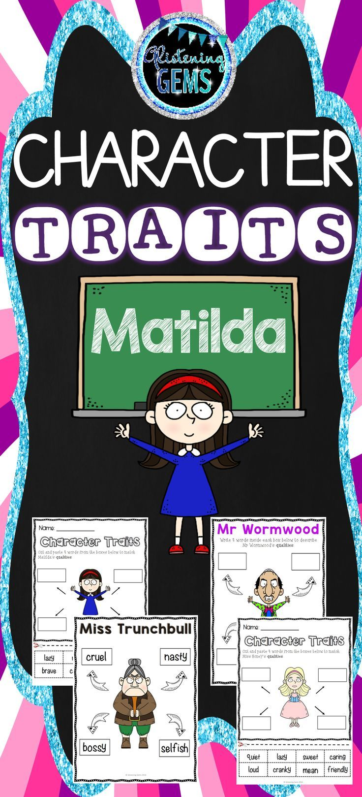 Matilda - Character Traits Activity Pack. No Prep cut and paste printables