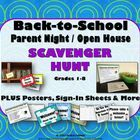 Back to School, Parent Meet the Teacher Night, Open House Scavenger Hunt, Sign-In Sheets, Posters  More: Grades 1-8. Use these ready-made mate...