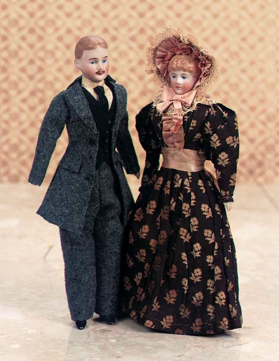 Two German Bisque Dollhouse Dolls