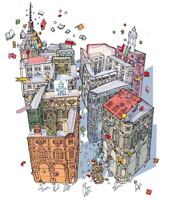 books buildings, Carlo Stanga, portfolio, illustration, , contact info, slideshow