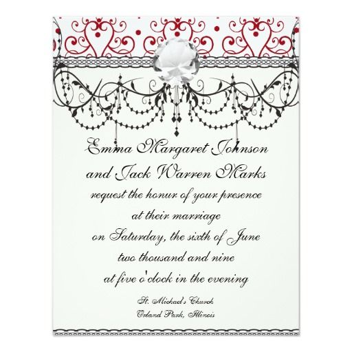 Red White Chandelier Heart Damask Card