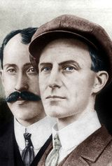 Orville Wright (1871-1948) and his brother Wilbur Wright (1867-1912)  At 10:35 a.m. on December 17, 1903, Orville Wright flew the Flyer for 12 seconds over 120 feet of ground. This flight, conducted on Kill Devil Hill just outside of Kitty Hawk, North Carolina, was the very first flight by a manned, controlled, heavier-than-air aircraft that flew under it's own power. In other words, it was the first flight of an airplane.