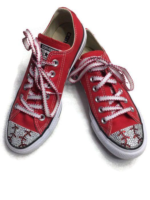 680ca817480 Baseball Converse Shoes. Baseball Mom Gift. Women s Bling Converse ...