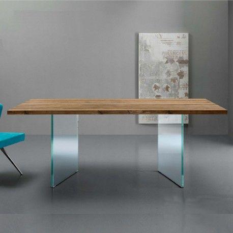 Tavoli da cucina - Tavolo Triade per sala da pranzo e soggiorno, in diverse finiture legno e vetro. Design moderno e minimale. Struttura fissa e allungabile