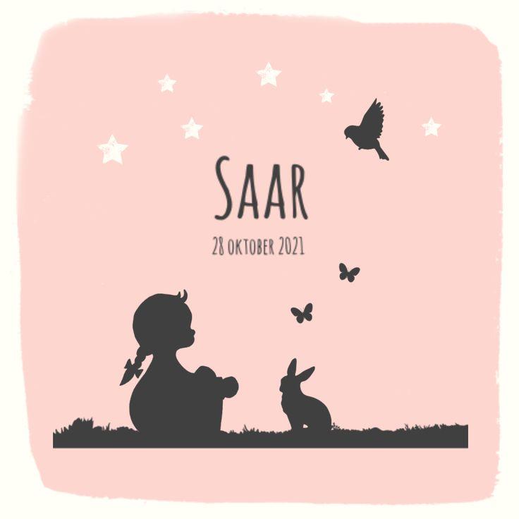 Lief geboortekaartje met een silhouet van een meisje. Op onze sites vind je veel meer geboortekaartjes met de nieuwste trends!