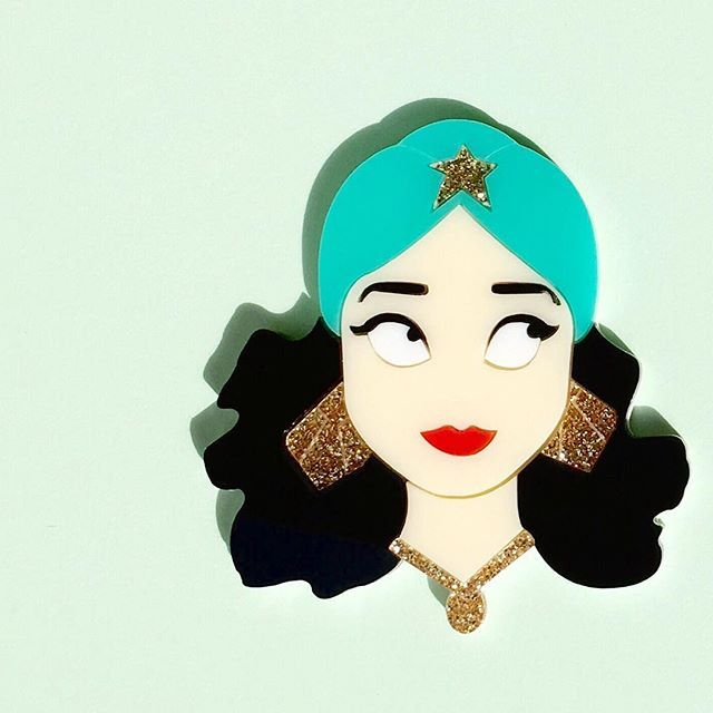 Meet Daphne... She's apart of our @gemini2013seoul collaboration and exudes glamour and glitz ✨ All new designs available this Thursday the 14th, at 12pm - www.deerarrow.com #handmade #brooch #noveltybrooch #pinup #pinupstyle #pinupgirl #art #vintage #glam