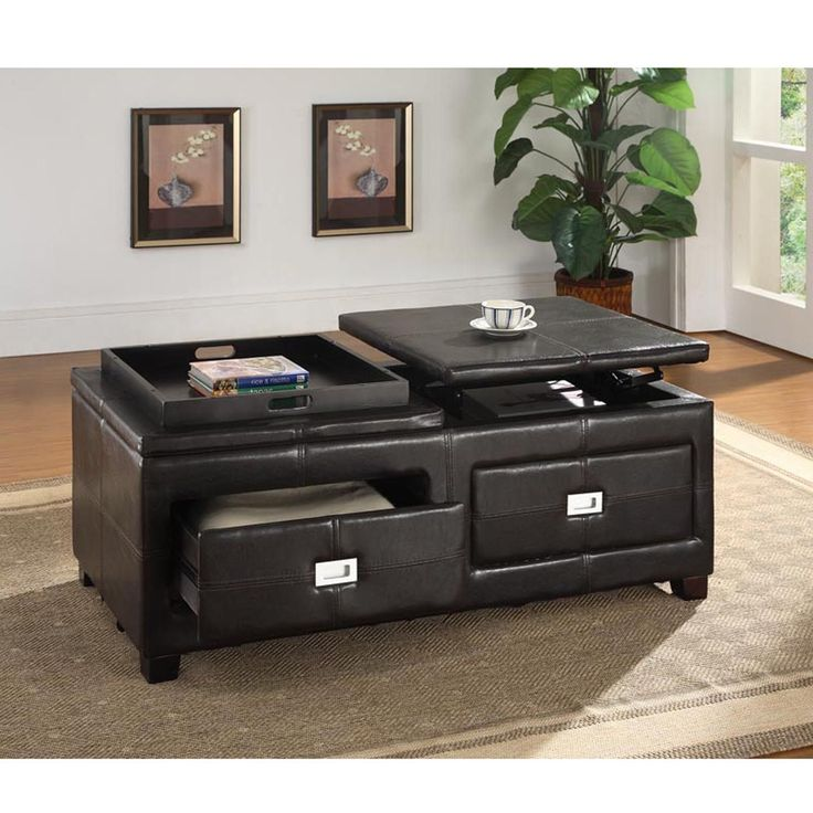 Adjustable Height Coffee Table With Storage: Nolan Contemporary Matt Brown PU Leather Upholstered