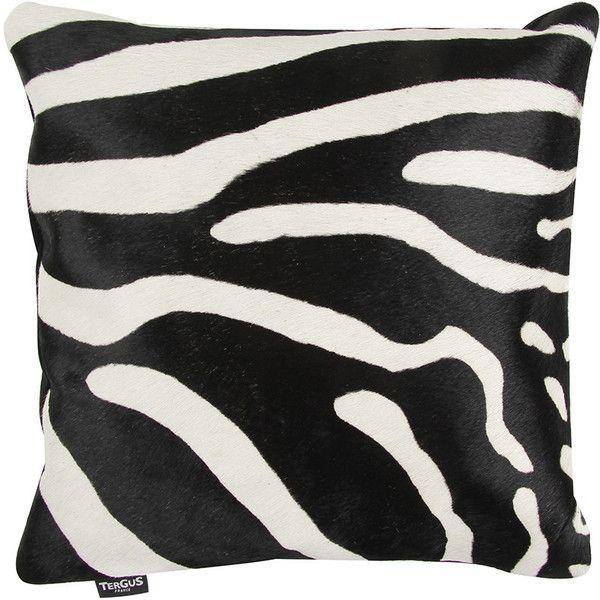 Amara Zebra Printed Cow Skin Cushion Black White