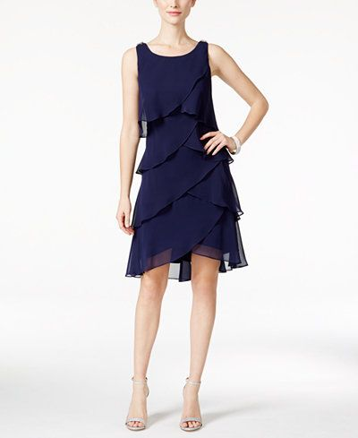 Style & Co. Rhinestone Tiered Tulip Chiffon Dress, Only at Macy's