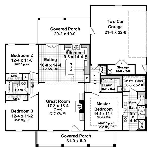 The House Designers Thd 9185 Builder Ready Blueprints To Build A House Plan With Crawl Space Foundation 5 Printed Sets Walmart Com In 2021 Country Style House Plans House Plans One Story Country