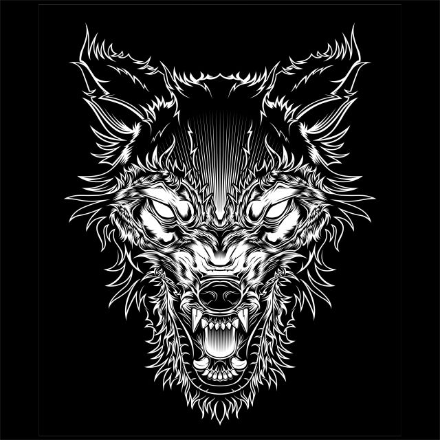 Vector Illustration Head Ferocious Wolf Outline Silhouette On A Black Background Wolf Animal Illustration Png And Vector With Transparent Background For Free Dog Vector Wolf Outline Cartoon Drawing Images