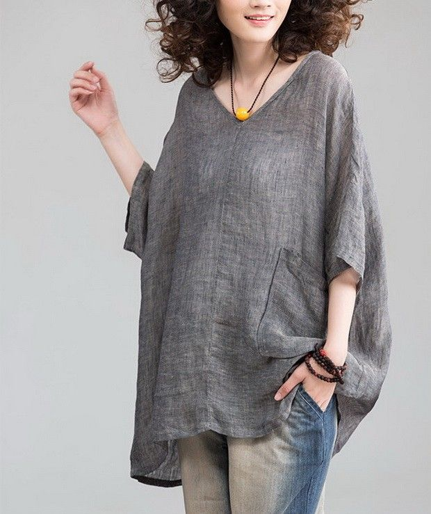 Heart Collar Loose Style Linen Tunic                              …