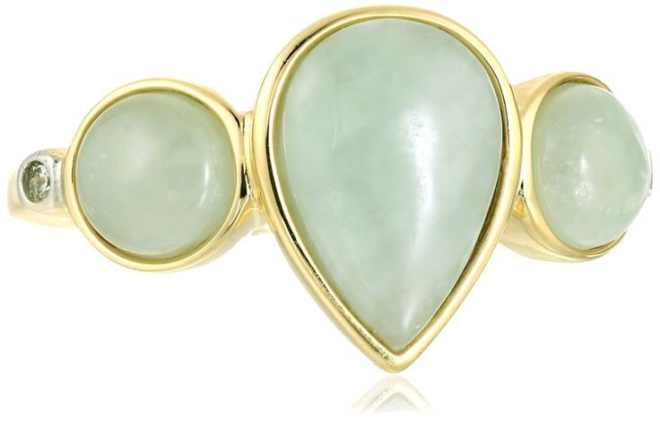 18k Yellow Gold Sterling Silver Green Jade and Diamond Accent Ring, Size 7: