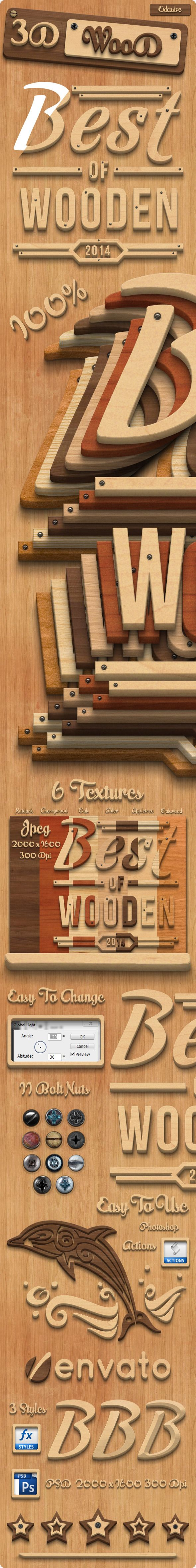 3D Wood Creation Photoshop Actions  #photoshop #premium #preset • Available here → http://graphicriver.net/item/3d-wood-creation-photoshop-actions/8012911?s_rank=29&ref=pxcr