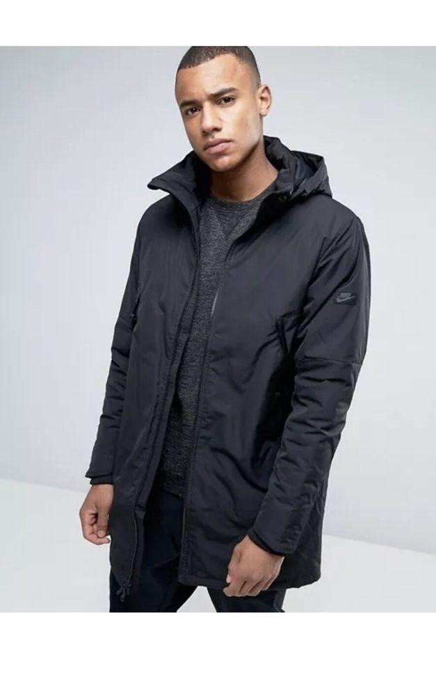 Nike NSW Parka Jacket Modern Down Fill Hooded Triple Black 806832-010 Size  Large  Nike  Parka 94a8e5568