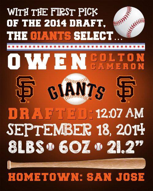 MLB SF Giants Baseball Wall Art Birth by FaithFamilyFunDesign